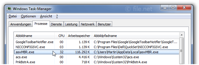 Windows Task-Manager mit aswMBR