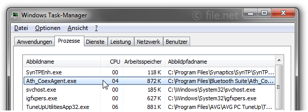 Windows Task-Manager mit Ath_CoexAgent
