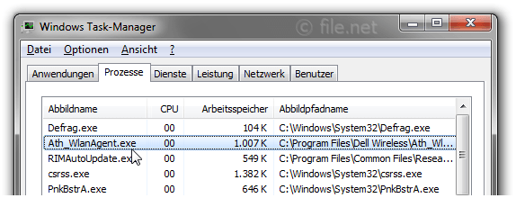 Windows Task-Manager mit Ath_WlanAgent
