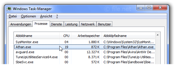 Windows Task-Manager mit Athan