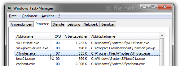 Windows Task-Manager mit ATnotes
