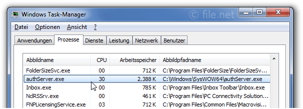 Windows Task-Manager mit authServer