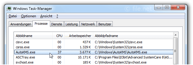 Windows Task-Manager mit AutoKMS