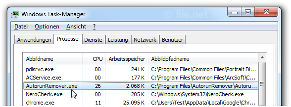 Windows Task-Manager mit AutorunRemover