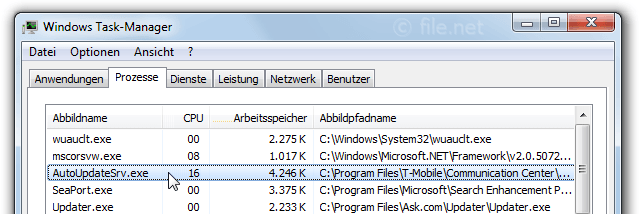 Windows Task-Manager mit AutoUpdateSrv
