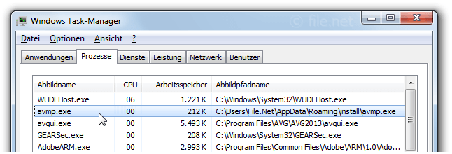 Windows Task-Manager mit avmp
