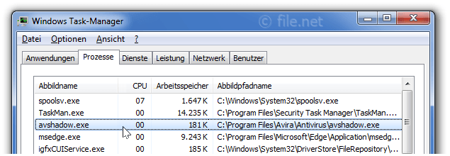 Windows Task-Manager mit avshadow