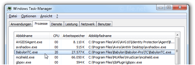 Windows Task-Manager mit BabylonTC