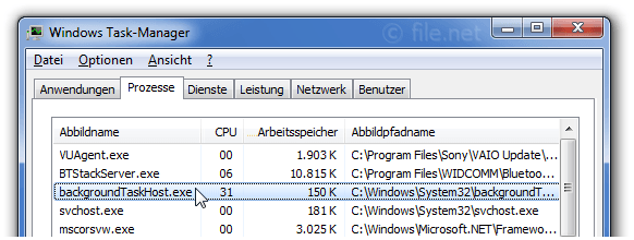 backgroundTaskHost.exe Windows Prozess - Was ist das?
