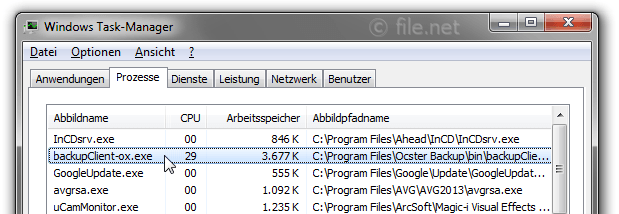 Windows Task-Manager mit backupClient-ox