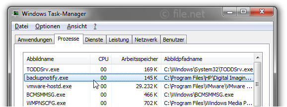 Windows Task-Manager mit backupnotify