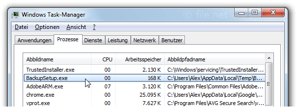 Windows Task-Manager mit BackupSetup
