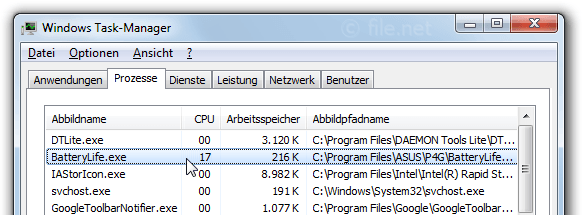Windows Task-Manager mit BatteryLife