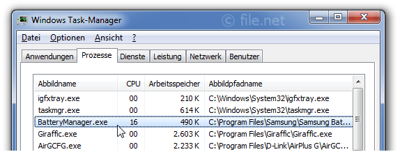 Windows Task-Manager mit BatteryManager