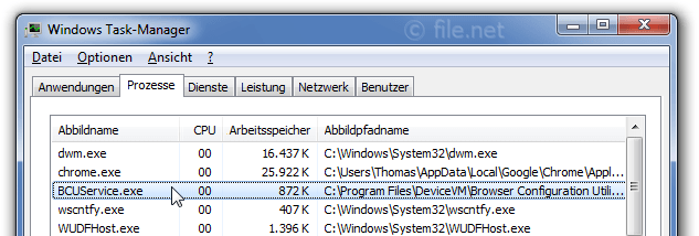 Windows Task-Manager mit BCUService