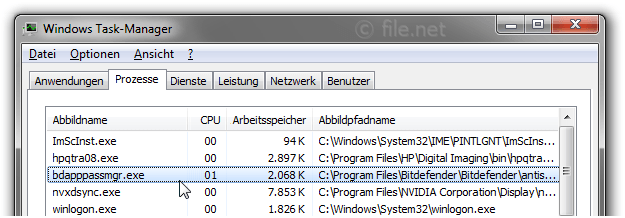 Windows Task-Manager mit bdapppassmgr