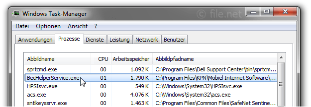 Windows Task-Manager mit BecHelperService