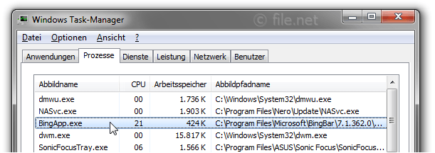 Windows Task-Manager mit BingApp