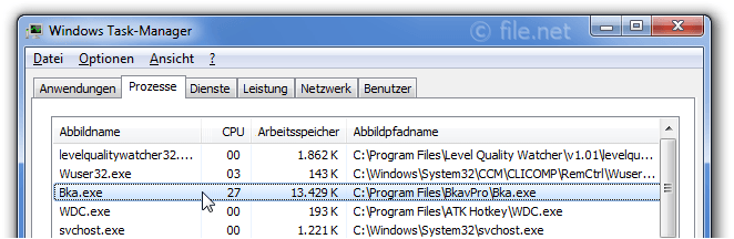 Windows Task-Manager mit Bka