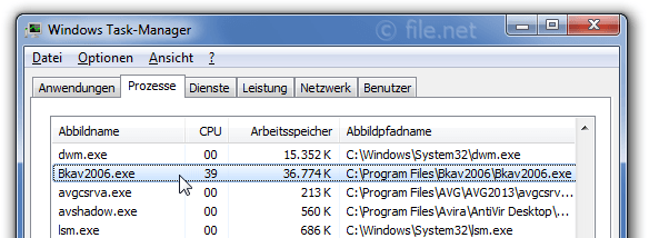 Windows Task-Manager mit Bkav2006
