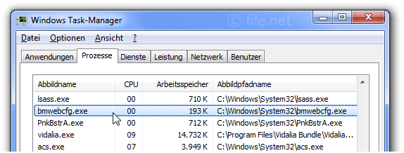 Windows Task-Manager mit bmwebcfg