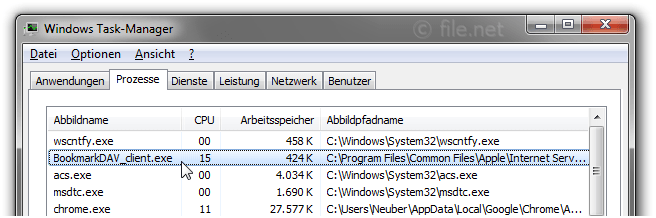 Windows Task-Manager mit BookmarkDAV_client