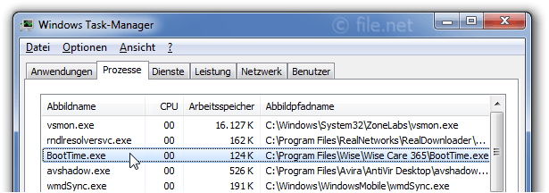 Windows Task-Manager mit BootTime