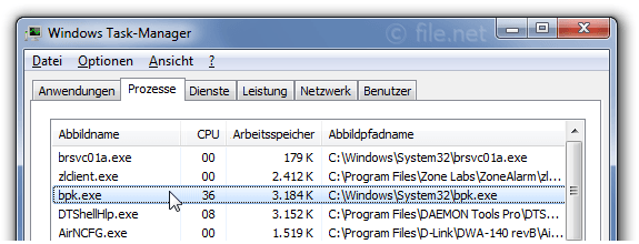 Windows Task-Manager mit bpk