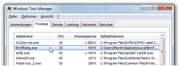 Windows Task-Manager mit BrmfRsmg