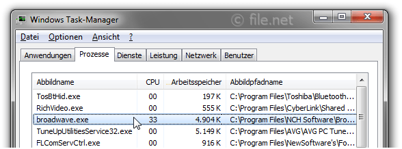 Windows Task-Manager mit broadwave