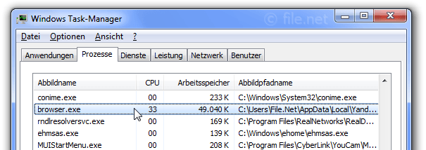 Windows Task-Manager mit browser