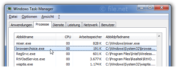 Windows Task-Manager mit browserchoice