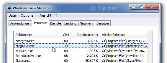 Windows Task-Manager mit brpjp04a