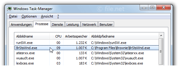 Windows Task-Manager mit BrStsWnd