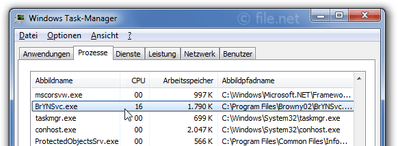 Windows Task-Manager mit BrYNSvc