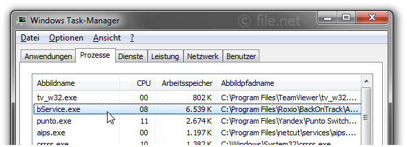 Windows Task-Manager mit bService