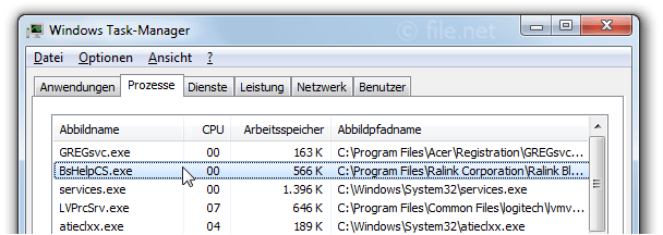 Windows Task-Manager mit BsHelpCS