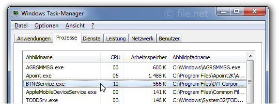 Windows Task-Manager mit BTNtService