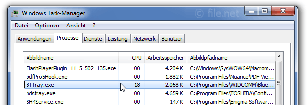 Windows Task-Manager mit BTTray