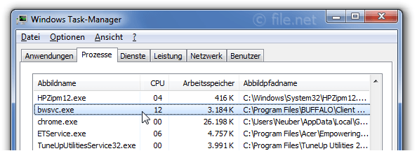 Windows Task-Manager mit bwsvc