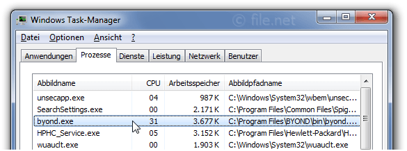 Windows Task-Manager mit byond