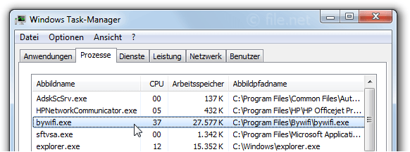 Windows Task-Manager mit bywifi