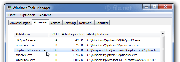 Windows Task-Manager mit CaptureLibService