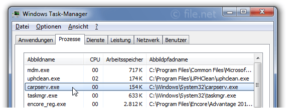Windows Task-Manager mit carpserv
