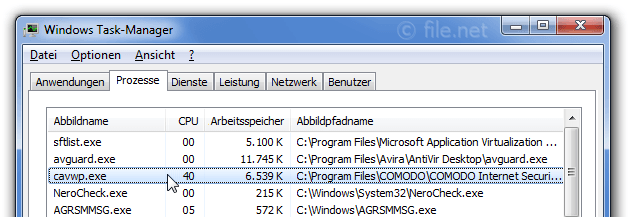 Windows Task-Manager mit cavwp