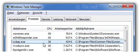 Windows Task-Manager mit ccApp