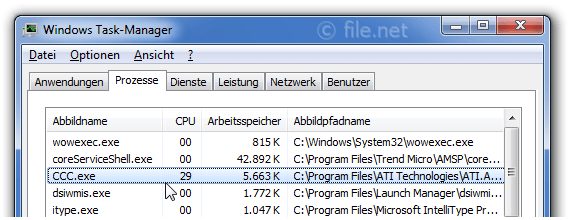 Windows Task-Manager mit CCC