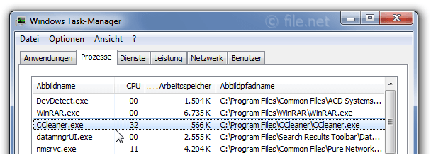 Windows Task-Manager mit CCleaner