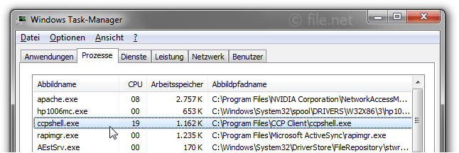 Windows Task-Manager mit ccpshell
