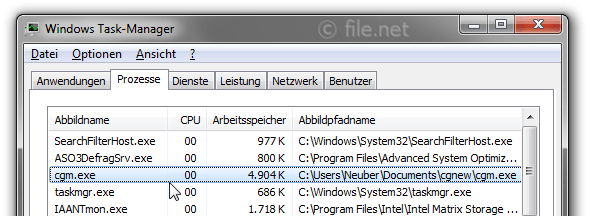 Windows Task-Manager mit cgm